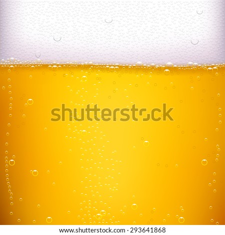 illustration of yellow vector beer background with a lot of bubbles - stock vector