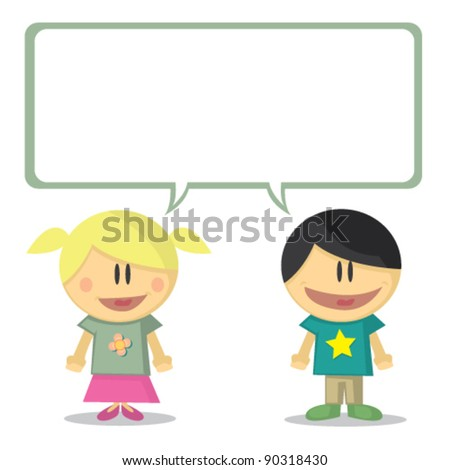illustration of young boy and young girl vector - stock vector