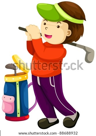 illustration of young boy playing golf on white background - stock vector