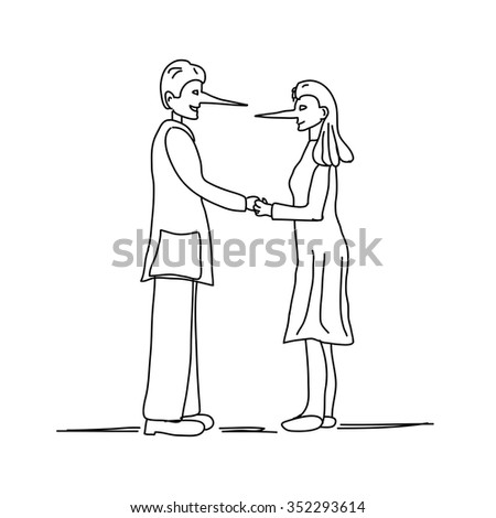 Illustration of young couple making a lie with long nose isolated on white background - stock vector