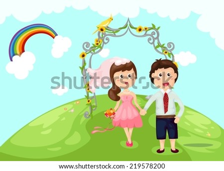 illustration of  young couple marry in the garden - stock vector