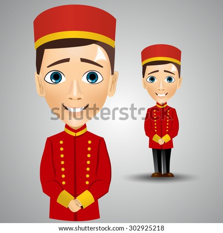 illustration of  young cute bellboy waiting for the client - stock vector