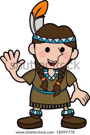 Illustration of young girl in Native American costume and braids waving
