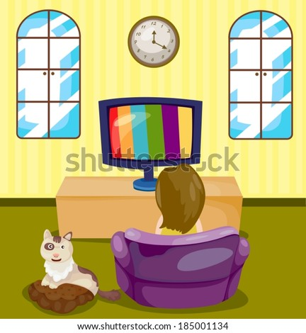 illustration of young girl watching TV with cat - stock vector