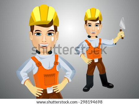 illustration of young handsome realistic plasterer with trowel and hands on hips - stock vector