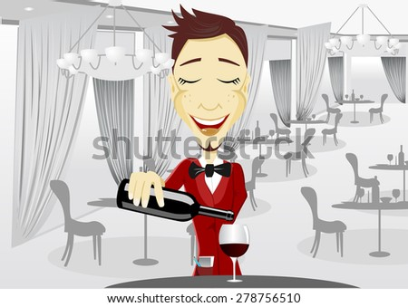 illustration of young smiling waiter pouring wine into glass during break in restaurant