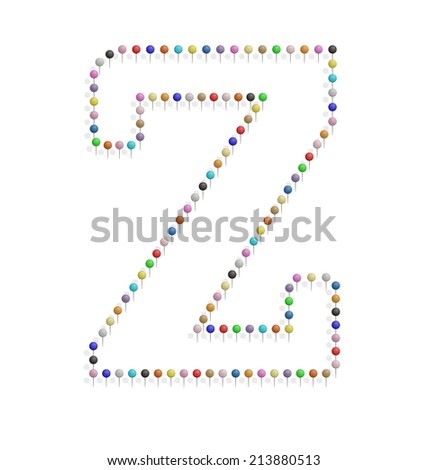 illustration of z letter created with pushpin