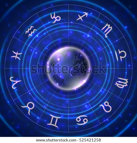Illustration of zodiac signs made of shiny pearls with abstract globe background