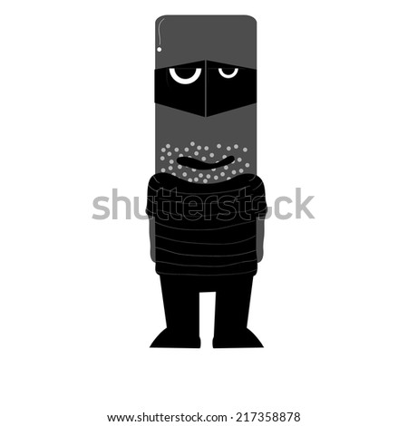 Illustration of zombie robber - stock vector