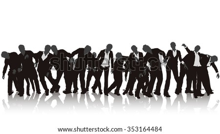 illustration of zombie silhouette crowd on white background with reflection - stock vector