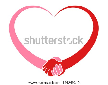 Illustration og a stylized heart holding hands