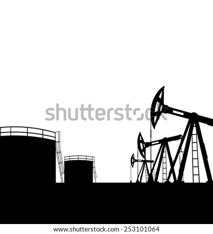 Illustration oil pump jack for petroleum and reserve tanks, isolated on white background - vector - stock vector