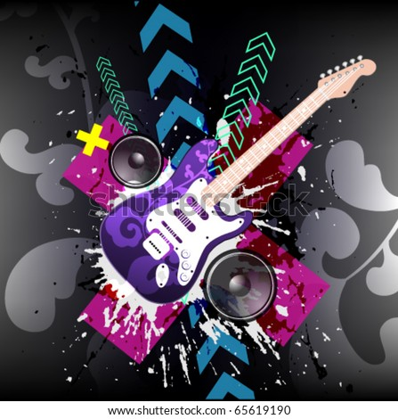Illustration on a musical theme with electric guitar