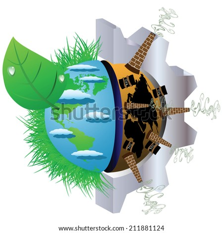 Illustration on Environmental Pollution of the planet earth - stock vector