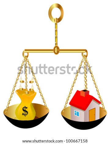 illustration on weight house and bag with dollar - stock vector