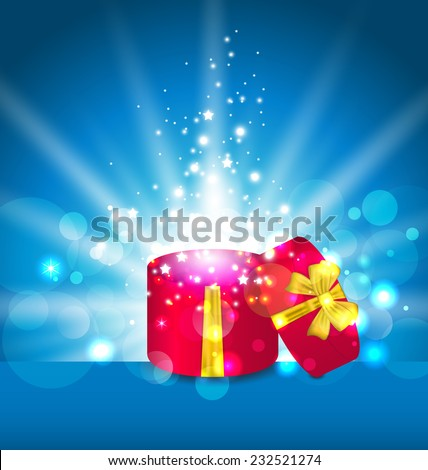Illustration open round gift box for your holiday - vector  - stock vector
