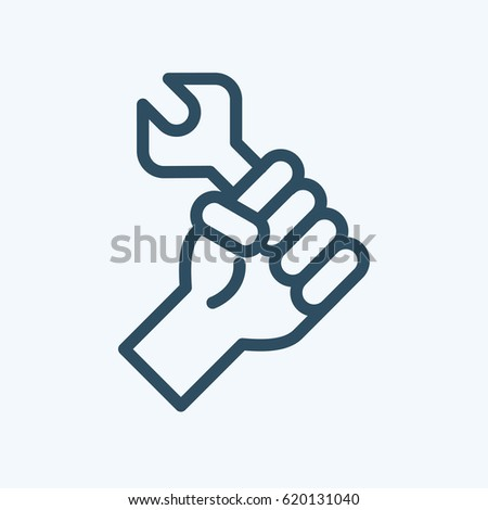 illustration or icon of Labor Day concept with man holding wrench. Logo for international labor day on 1st may
