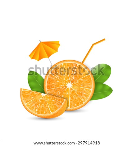Illustration Orange as a Drink with a Straw and Umbrella, Ripe Citrus - Vector - stock vector