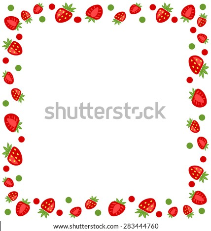 Illustration Ornamental Frame Made of Strawberry with Copy Space for Your Text - Vector - stock vector