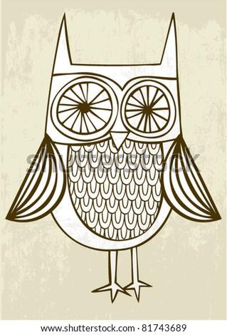 illustration owl - stock vector