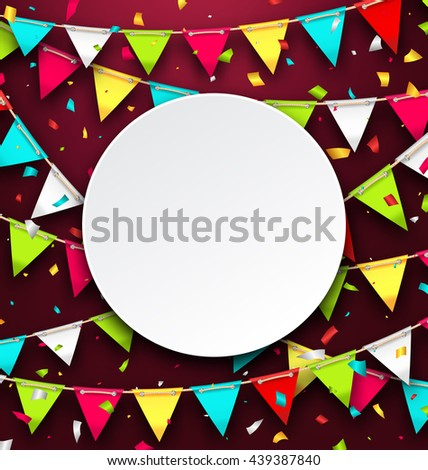 Illustration Party Background with Clean Card, Colorful Bunting and Confetti - Vector