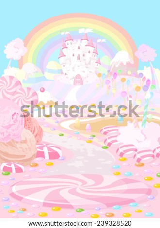 Illustration pastel colored a fairy kingdom - stock vector