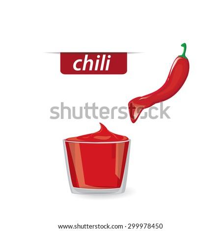 illustration. pepper, chili Sauce - stock vector