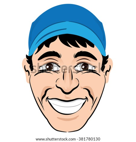 Illustration person head and face of a happy smiling male character. Ideal for institutional materials - stock vector