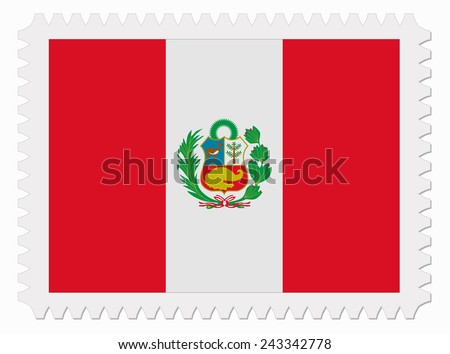 illustration Peru flag stamp - stock vector