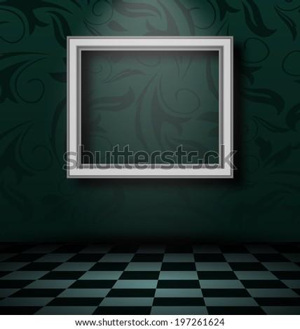 Illustration picture frame in dark empty interior - vector - stock vector