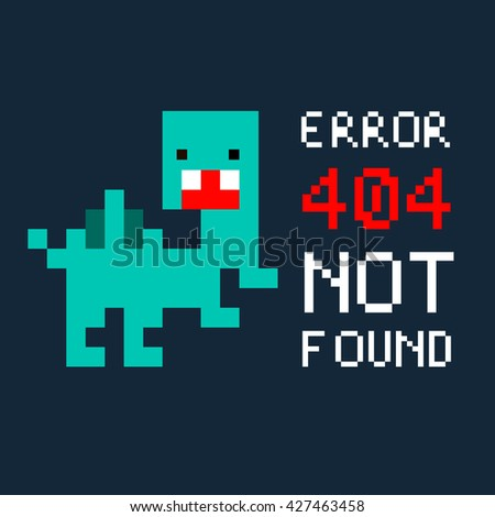Illustration pixel art 8 bit for website page not found 404 error and colorful dinosaur isolated on blue background / vector eps 10 - stock vector