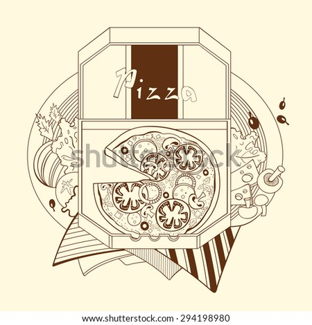 Illustration pizza in a box. The Italian cuisine. Fastfood. - stock vector