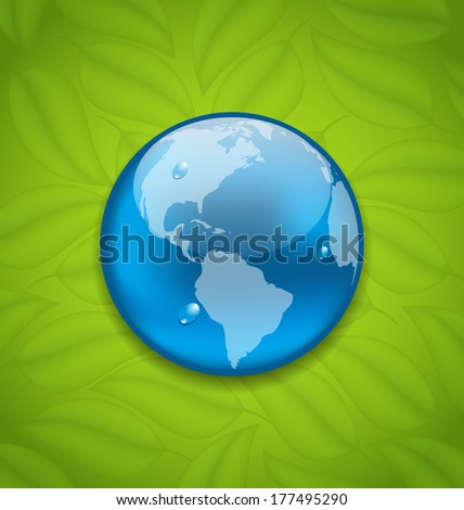 Illustration planet Earth on green leaves texture - vector - stock vector