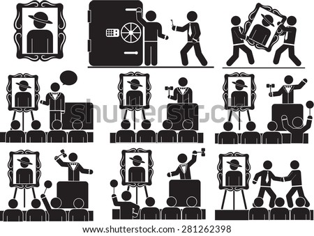 Illustration - Presentation and Auction icon set - stock vector
