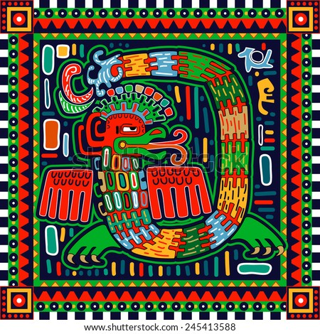 "Illustration ""Quetzalcoatl"". Seamless ornamental pattern"