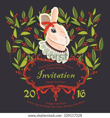 illustration rabbit invitation, Easter day Card, Birthday Card - stock vector