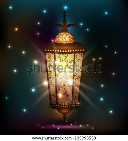 Illustration Ramadan background with arabic lantern - vector - stock vector