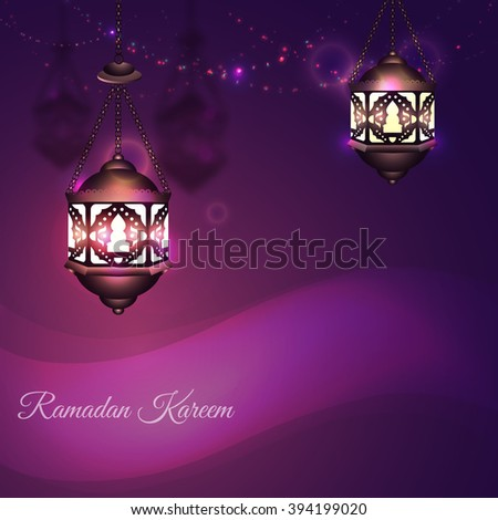 Illustration Ramadan Kareem Background with Lamps (Fanoos), Ramadan Kareem Crescents and Lights. Can be used as Ramadan Kareem greeting card. Vector. - stock vector