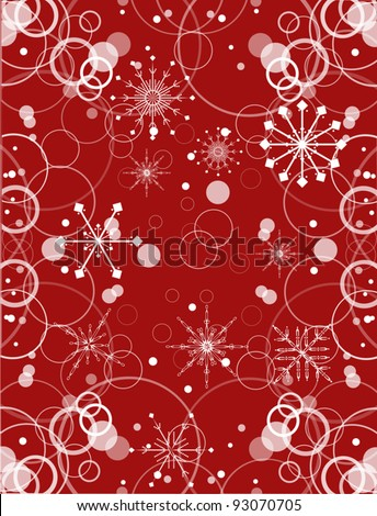 illustration red and white snowflake background - stock vector