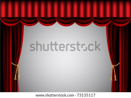 illustration red curtain and scenic screen - stock vector