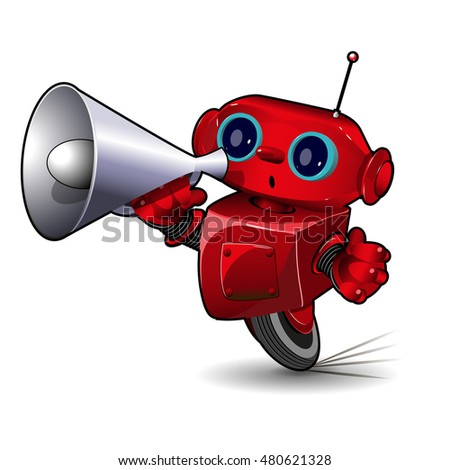 Illustration  Red Robot Speed in a Bend with Megaphone