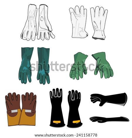 Illustration representing a safety harness models of protective gloves - stock vector