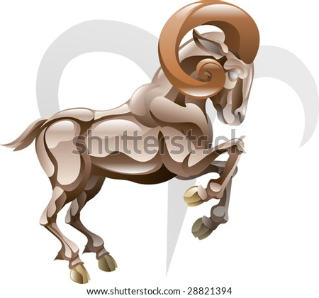 Illustration representing Aries the ram star or birth sign. Includes the symbol or icon in the background - stock vector