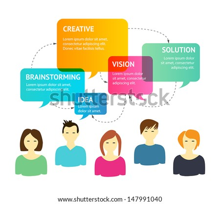 Illustration representing creative process and brainstorming between  a group of people - stock vector