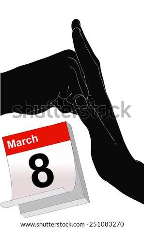 Illustration representing the symbolic day of 8 March against violence on women  - stock vector