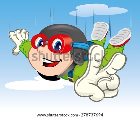 Illustration represents a boy child, jumping with a parachute. Ideal for materials about extreme sports and institutional - stock vector
