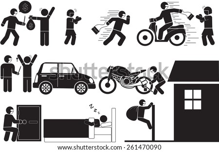 Illustration - Robbery and theft icon - stock vector