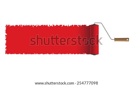 Illustration roller brush with red paint. Vector. - stock vector
