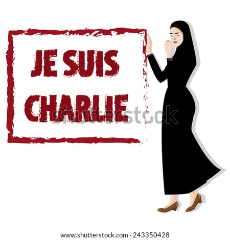 illustration sad woman for peace,I am Charlie - stock vector
