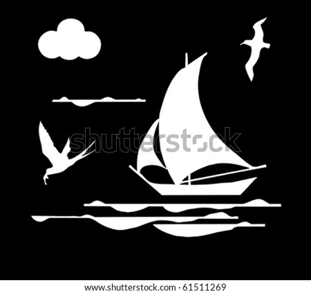 illustration sailboat in ocean - stock vector